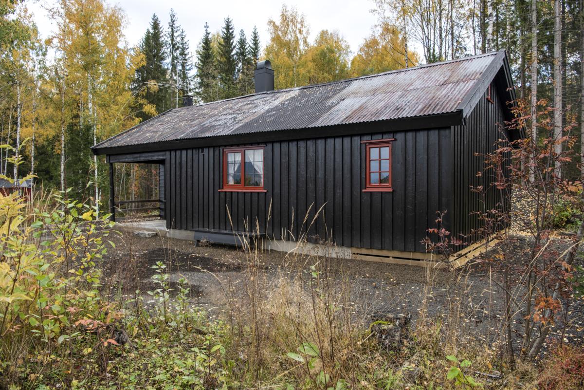 Mørkebrun hytte med rødmalte vinduer og bølgeblikktak.