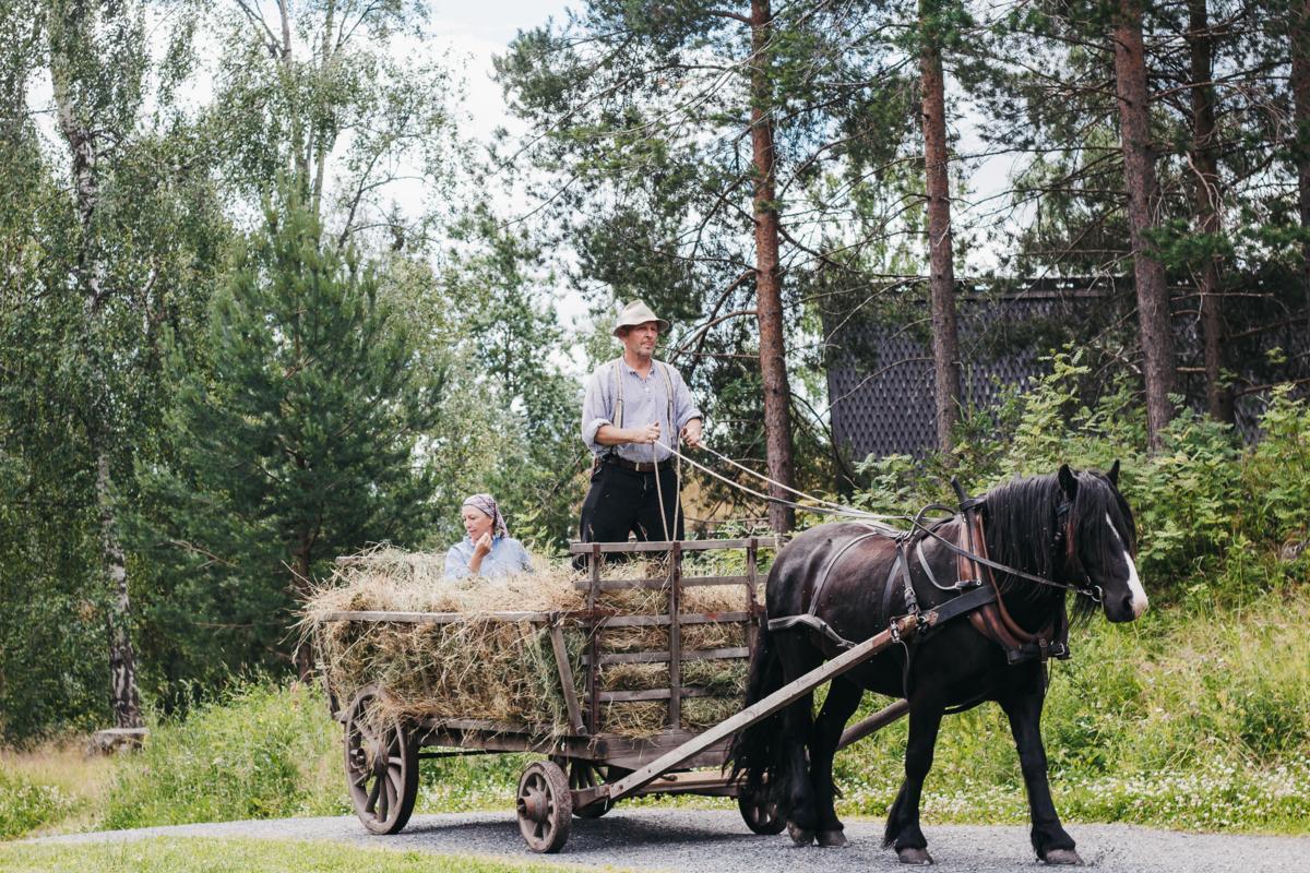 Hest og kjerre med høy, med bonden og gårdskjerringa i.
