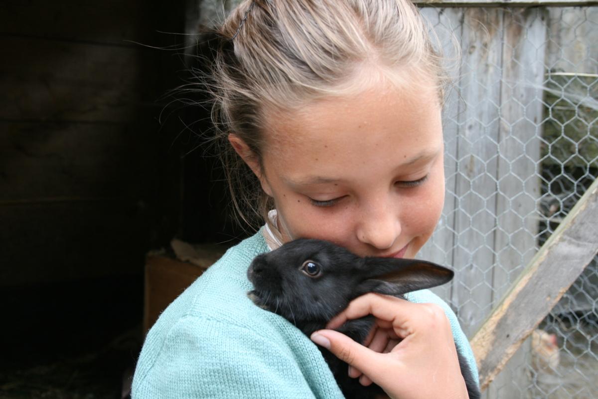 Jente koser med kanin.
