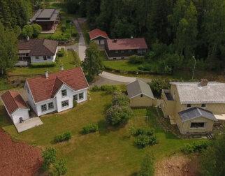 Flyfoto av Boligfeltet på Maihaugen.