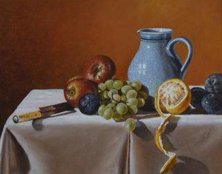 Maleri av ulike frukter, en kniv og en mugge på et bord.