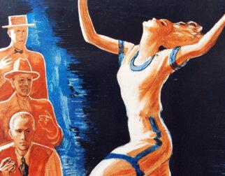 Tegning av kvinne som løper med armene i været, mens tre menn med stoppeklokke ser skeptisk på henne.