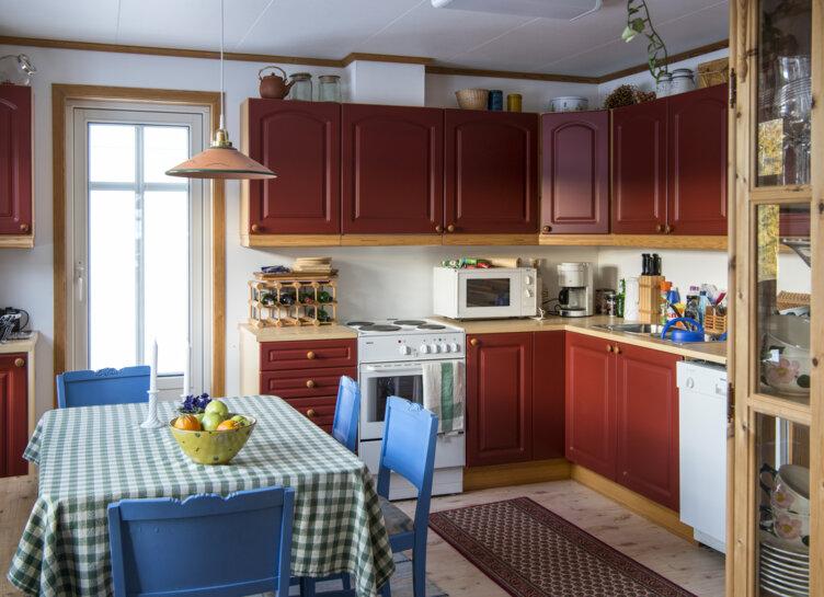 Kjøkkenet i 1990-tallshuset på Maihaugen på Lillehammer.