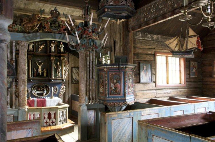 Alteret i Garmo Stavkirke på Maihaugen, Lillehammer