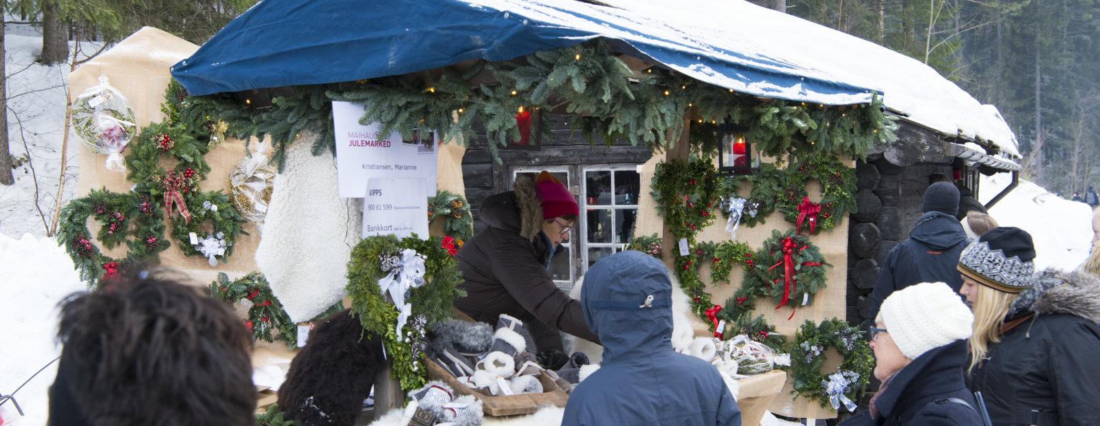 Salgsbod på Maihaugens julemarked på Lillehammer