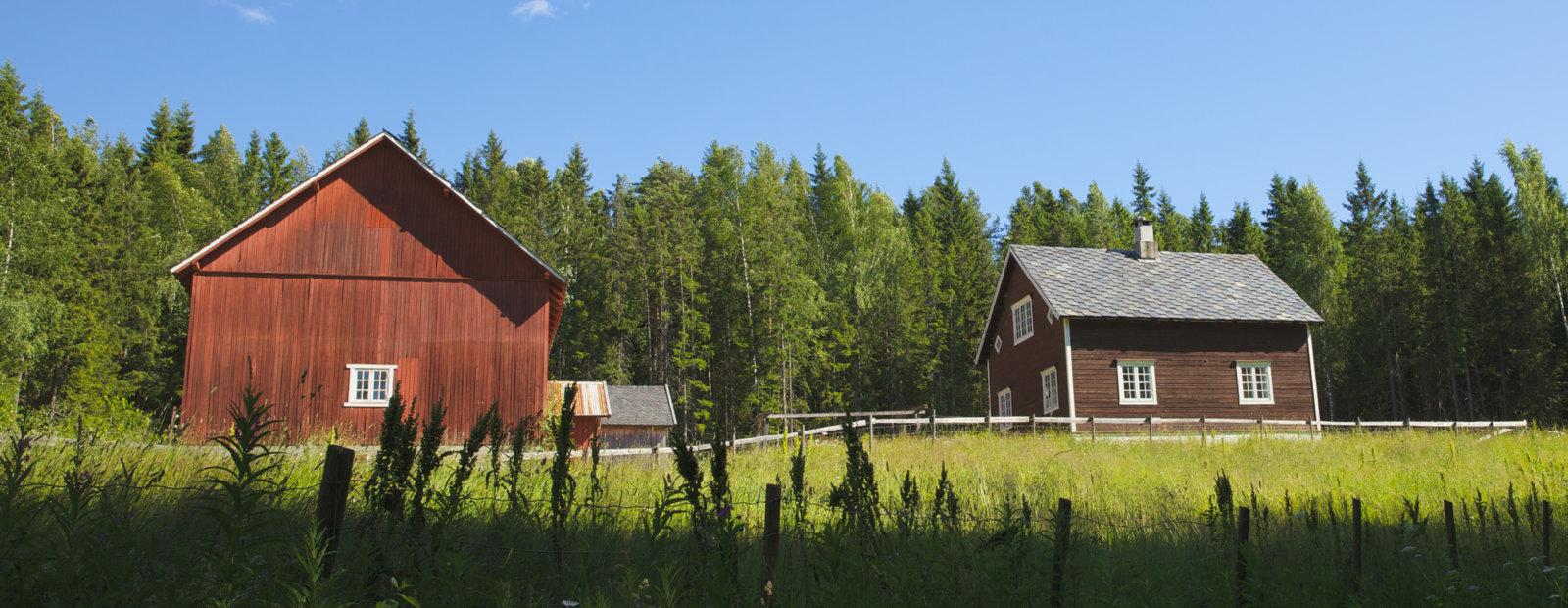 Lite gårdsbruk med hovedhus og låve.
