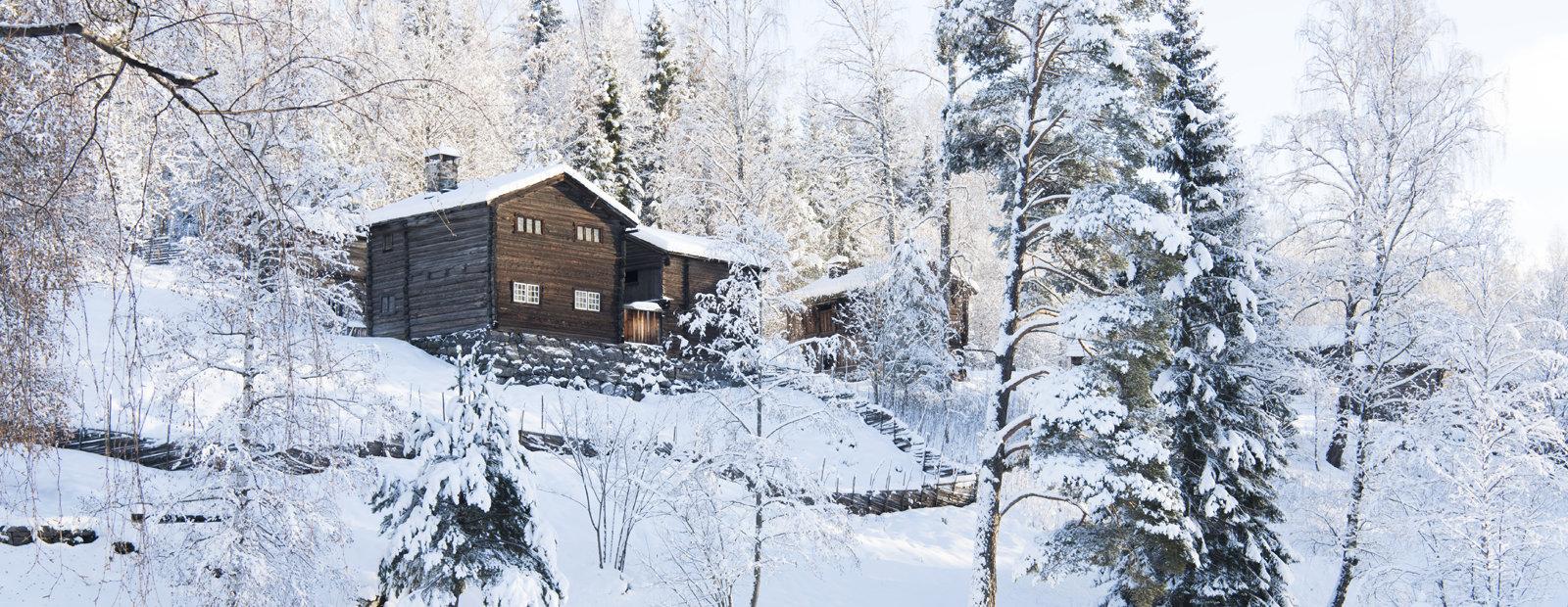 Laftet tømmerhus i vinterlandskap på friluftsmuseet Maihaugen på Lillehammer.