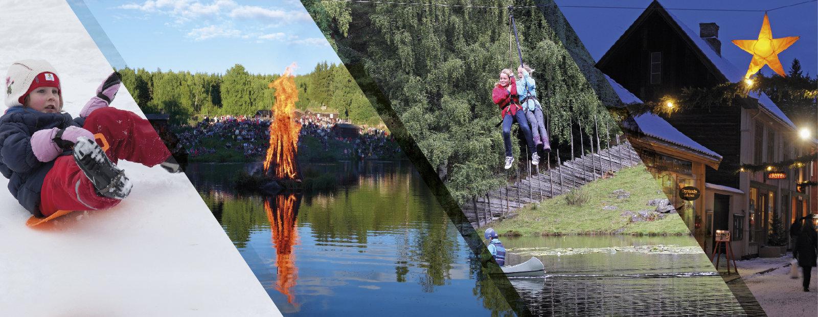 Collage fra noen av familieaktivitetene som tilbyr på Maihaugen på Lillehammer.