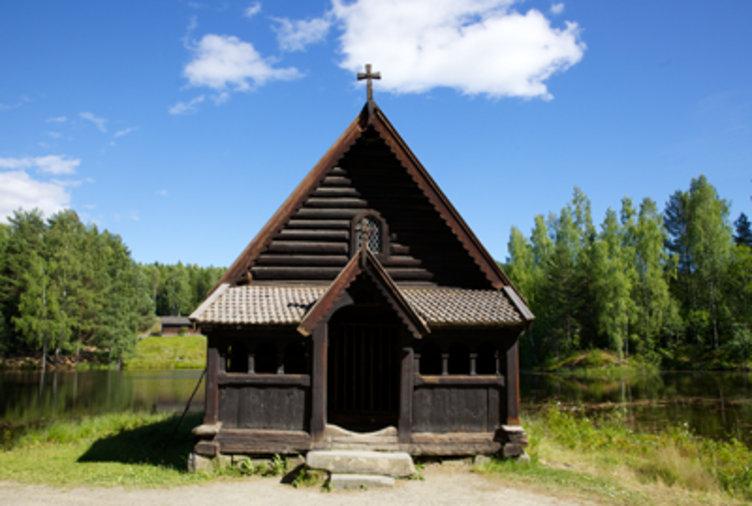 Fiskekapellet som ligger på friluftsmuseet Maihaugen på Lillehammer.