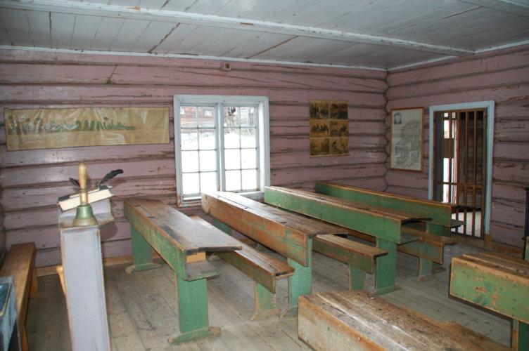 Fra inne i skolestua på Maihaugen, Lillehammer.