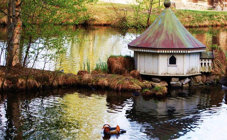 Lite hus til ender på en øy i tjernet på Maihaugen.